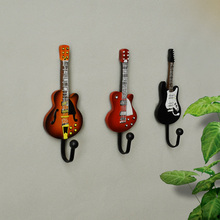 Resin Creative Guitar European coat hooks decorative Hat Coat Clothes Towel Wall Door Hanger Hooks цена и фото