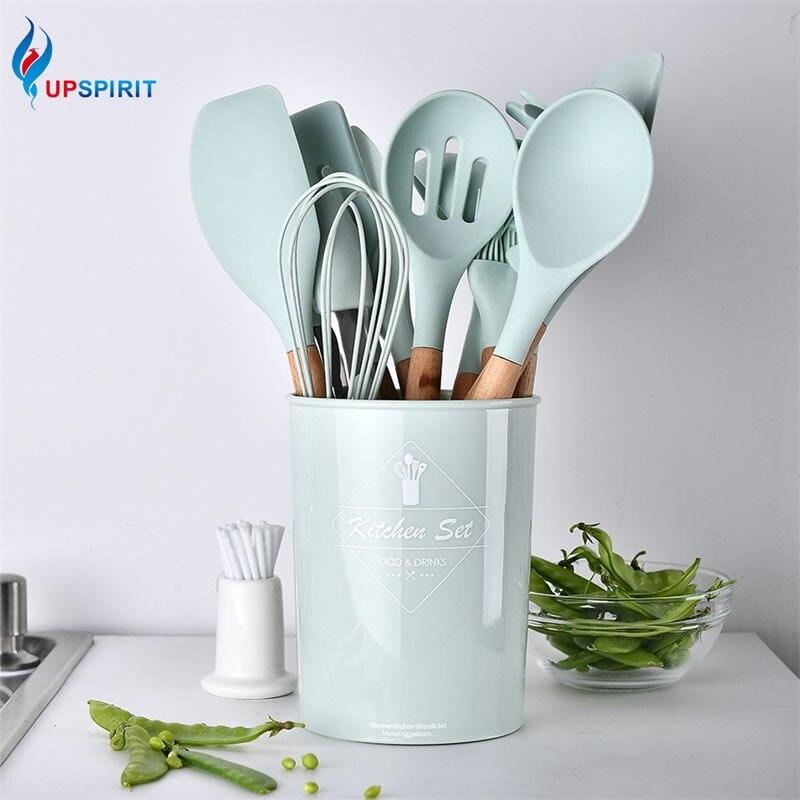 Ensemble d'ustensiles de cuisine Upspirit 12 pièces/ensemble pince à Spaghetti en Silicone/pince à nourriture/brosse à huile/spatule/batteur à oeufs/outil de cuisine pour conteneur