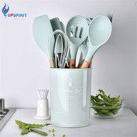 Upspirit 12pcs/set Cooking Utensil Set Silicone Spaghetti Tong /Food Clip/ Oil Brush /Spatula/ Egg Beater/Container Kitchen Tool
