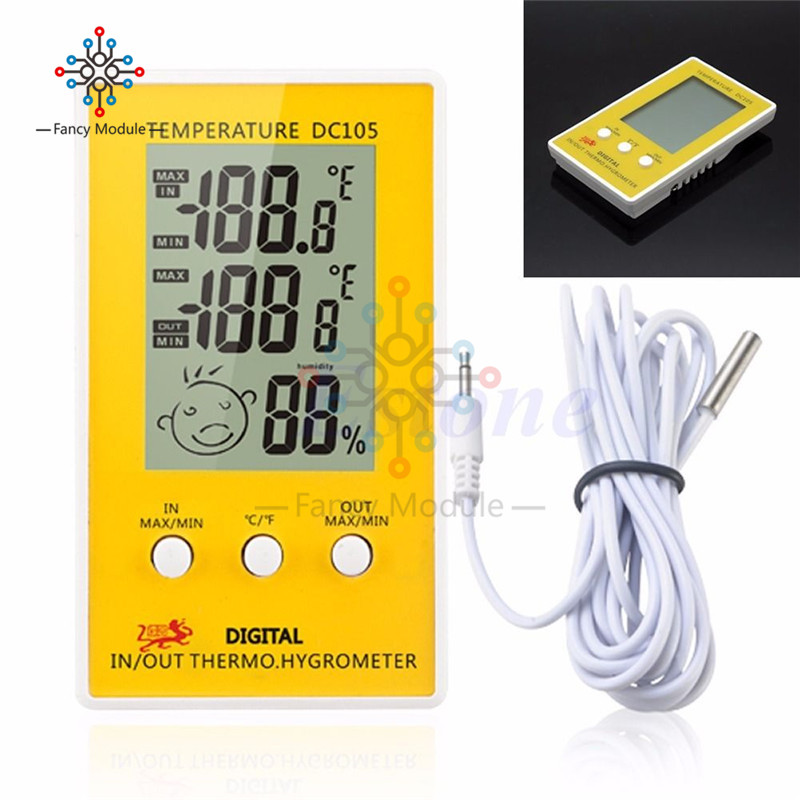 DC105 LCD Digital Thermometer Temperature Humidity Meter Hygrometer Indoor Outdoor Meteo Weather Station Diagnostic-too 420012 1 7 lcd indoor and outdoor temperature meter white 1 x aaa