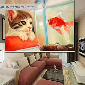 MOMO Roller Blinds Blackout Design Window Blinds Painting Curtains Roller Shades Thermal Fabric Custom Size, Alice 391-396