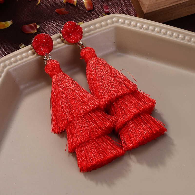 أقراط طويلة بشرابة متعددة الطبقات بوهيمية هوكول الأحمر والأزرق والأصفر مصنوعة يدويًا أقراط متدلية للنساء مجوهرات الزفاف Brincos
