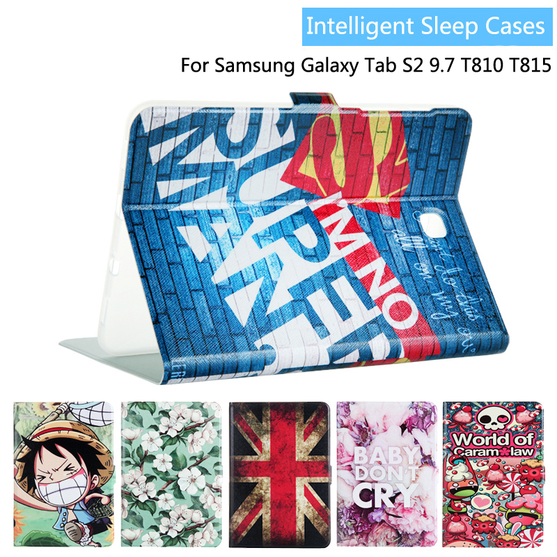 Fashion Painted Flip PU Leather For Samsung Galaxy Tab S2 9.7 T810 T815 T819 9.7 inch Tablet Smart Case Cover + Gift luxury pu leather cover case for samsung galaxy tab s2 9 7 t810 t815 sm t810 flip stand for samsung galaxy s2 t815 cases kf469a
