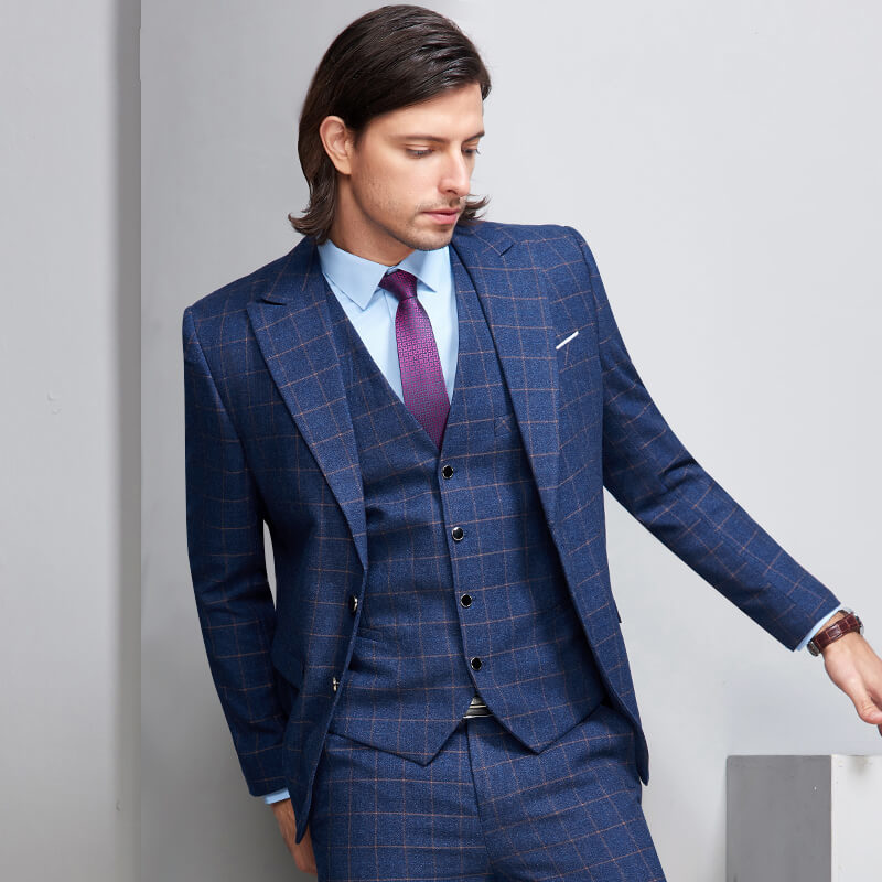 US $104.65 25% OFF|Plaid 3 Piece Men Suit Check Slim Fit Leisure Wedding  Dress Suits for Groom Plus Size Terno Masculino 4XL CD30-in Suits from  Men\'s ...