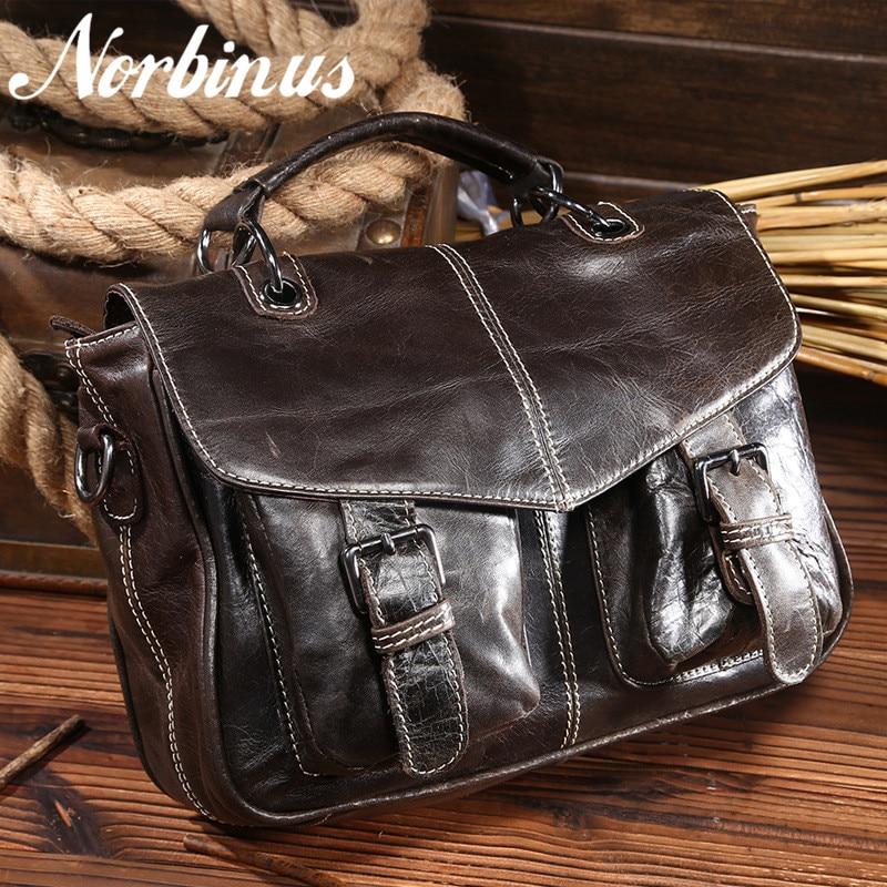 Norbinus 2018 Genuine leather Men Crocodile Bag Real Skin Crossbody Shoulder Messenger Bag First Layer Cowhide Business Handbag