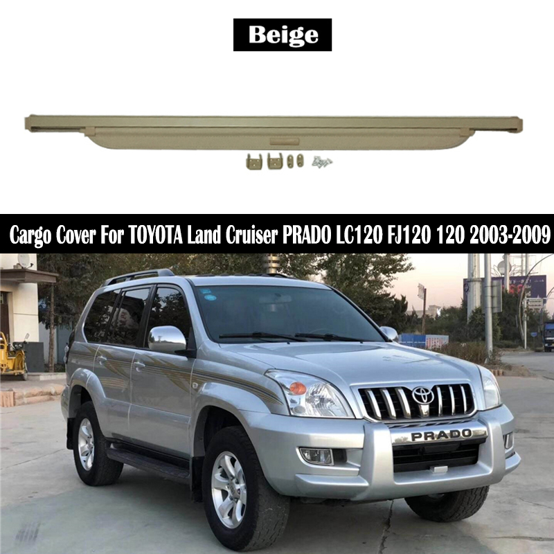 Rear Cargo Cover For TOYOTA Land Cruiser PRADO LC120 FJ120 120 2003-2009 privacy Trunk Screen Security Shield shade Accessories image