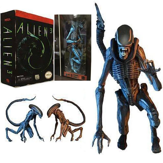 18 cm 2 pçs/set Riple Predadores NECA Aliens Xenomorph Alienígena 3 Azul Superman PVC Action Figure Modelo Toy Presente