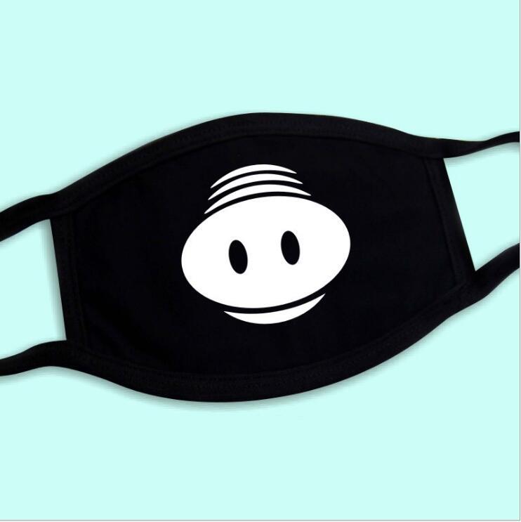 Symbol Der Marke Schwein Stil 1 Stücke Mund Maske Schwarz Baumwolle Mischung Anti Staub Und Nase Schutz Gesicht Mund Maske Mode Reusable Masken Für Mann Frau Damen-accessoires Bekleidung Zubehör