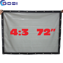 72 inches 4:3 Behind Rear / Front Projection Screen Wall Mounted Special PVC Soft Curtain Projector Screen with Eyelet