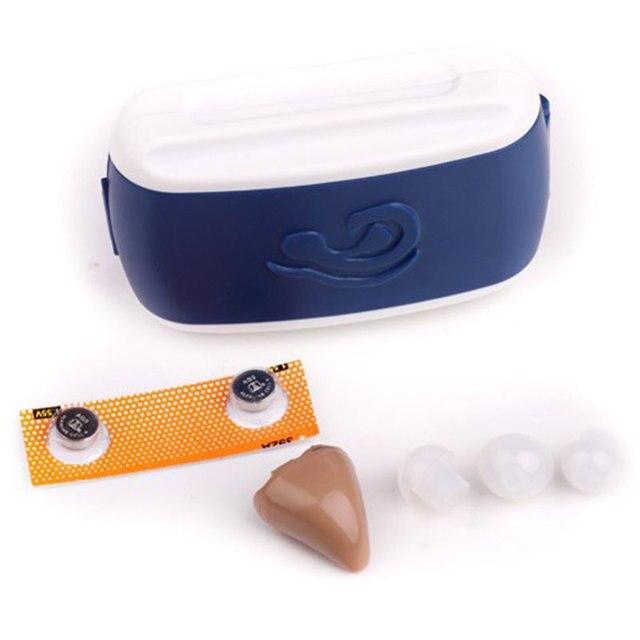 Super Mini fone de Ouvido do Aparelho Auditivo Volume de Som Amplificador de Voz Dispositivo de Cuidado Da Orelha Plugue de Orelha Som Enhancemen Presente de Alta qualidade