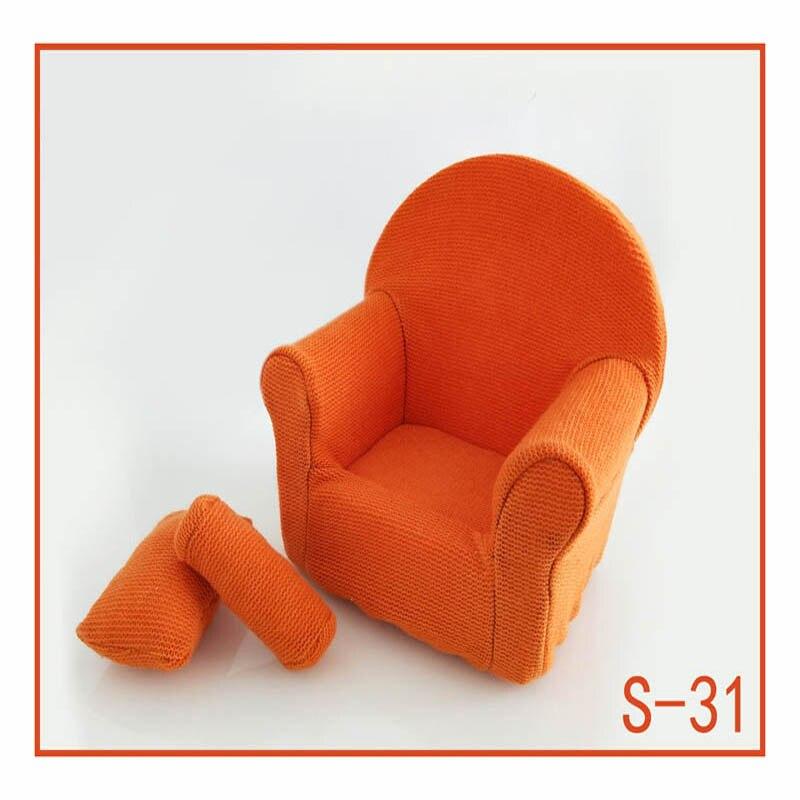 Реквизит для фотосъемки новорожденных, позирующий мини-диван, кресло на руку и 2 подушки, реквизит для фотосессии, студийные аксессуары для детей 0-3 месяцев - Цвет: 31