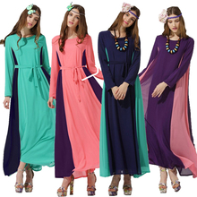 Abaya turkish women clothing muslim dress Islamic Lady jilbabs and abayas Splice Chiffon long dresses giyim cheap clothes china