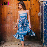 Jastie Vintage Bohemian Navy Floral Midi Dress Sexy Low Back Summer Dresses Patchwork Lace Hem Casual