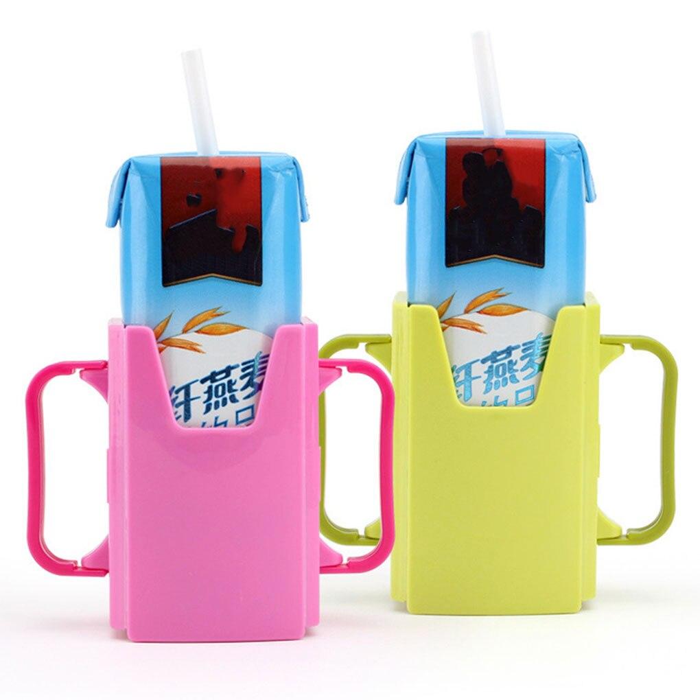 Baby Milk Cartoon Cup Holder Infant Toddler Milk Carton Adjustable Anti-sprinkler Drinking Container Kids Children Infant Baby