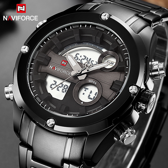 Top Luxury Brand NAVIFORCE Men Full Steel Sport Watches Men's Quartz Analog LED Clock Man Military Wrist Watch Relogio Masculino top luxury brand naviforce men sport watches men s quartz led analog clock man military waterproof wrist watch relogio masculino