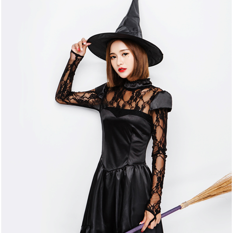 high quality Witch Cosplay Costume Adult Women Magic Moment sorceress Costume Carnival  Witch Halloween ghost Fancy crape Dress