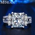 MDEAN Branco banhado a ouro anéis vintage Para Mulheres CZ diamante anel de noivado casamento mulheres anéis jóias vintage bijoux ringMSR125