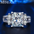 MDEAN White gold plated vintage rings For Women CZ diamond jewelry vintage ring wedding engagement women rings bijoux ringMSR125