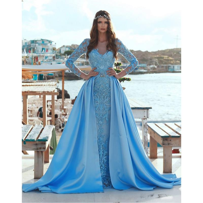 New Arrival Arabic Mermaid   Prom     Dresses   2019 Vestidos De Fiesta De Noche Lace Long Sleeve Evening Gowns Special Occasion   Dress