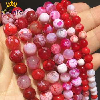 Natural Red Ice Craked Agates Beads Round Loose Beads For Jewelry Making DIY Bracelet Necklace Accessories 6/8/10mm 15''/Strand image