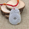 Hand-Carved Ruyi Kylin Certified Grade A Natural Green Jadeite Jade Pendant 6500