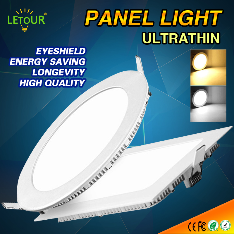 LED Panel Light Ceiling Downlight Light 3W~15W Round/Square Cool White/Warm White Spot Light AC 85-265V with Fixtures Adapter 1w 90 lumen 3500k warm white led ceiling lamp down light with led driver ac 85 265v