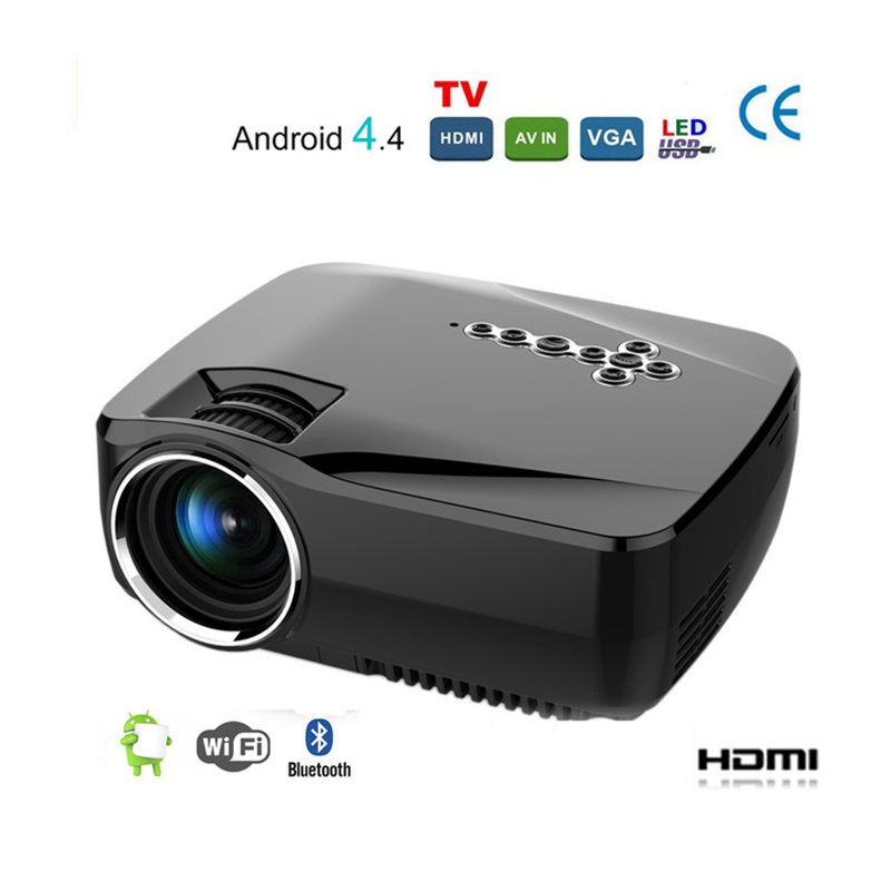 Android 4.4 Wi-fi Bluetooth Portátil Mini LED Projetor de Home Theater Projetor 1200 Lumen Suporte Miracast Airplay AC3 Projetor