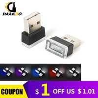 Mini USB Lámpara LED luces de ambiente del coche Lámpara decorativa de emergencia Universal PC enchufe portátil y Play rojo/azul/ blanco CarSstyling