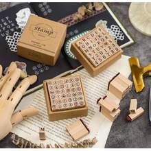 Vintage Style Craft Seal Wooden Digital English Stamp  Alphabet Number Set Standardized Stamps Letter
