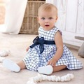Newest Baby Toddler Girl Kids Cotton Outfit Clothes Top Bow-knot Plaids Dress 0-3 Years