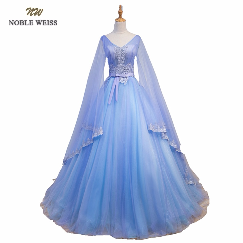 NOBLE WEISS Sexy Blue   Prom     Dresses   Appliques Beading Pleat Ball Gown V-Neck See Through Back Tulle   Prom   Gown With Long Sleeves