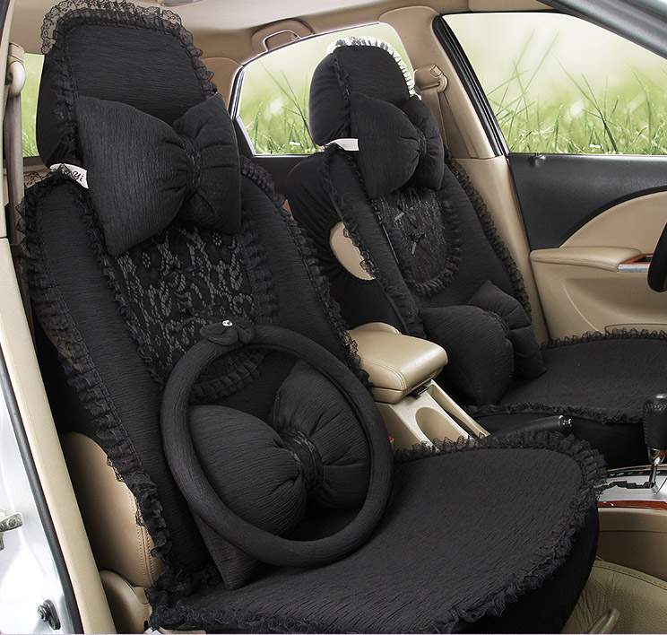 2016 New Arrival 5 Pieces Set Female Car Seat Cover Four Season Cute Girls Butterfly Lace Cushion In Automobiles Covers From