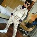 2016 Terno de Alta qualidade cor Champanhe estilo conjuntos de menino Terno ternos Slim Fit Noivo Smoking menino mostrar (paletó + calça)