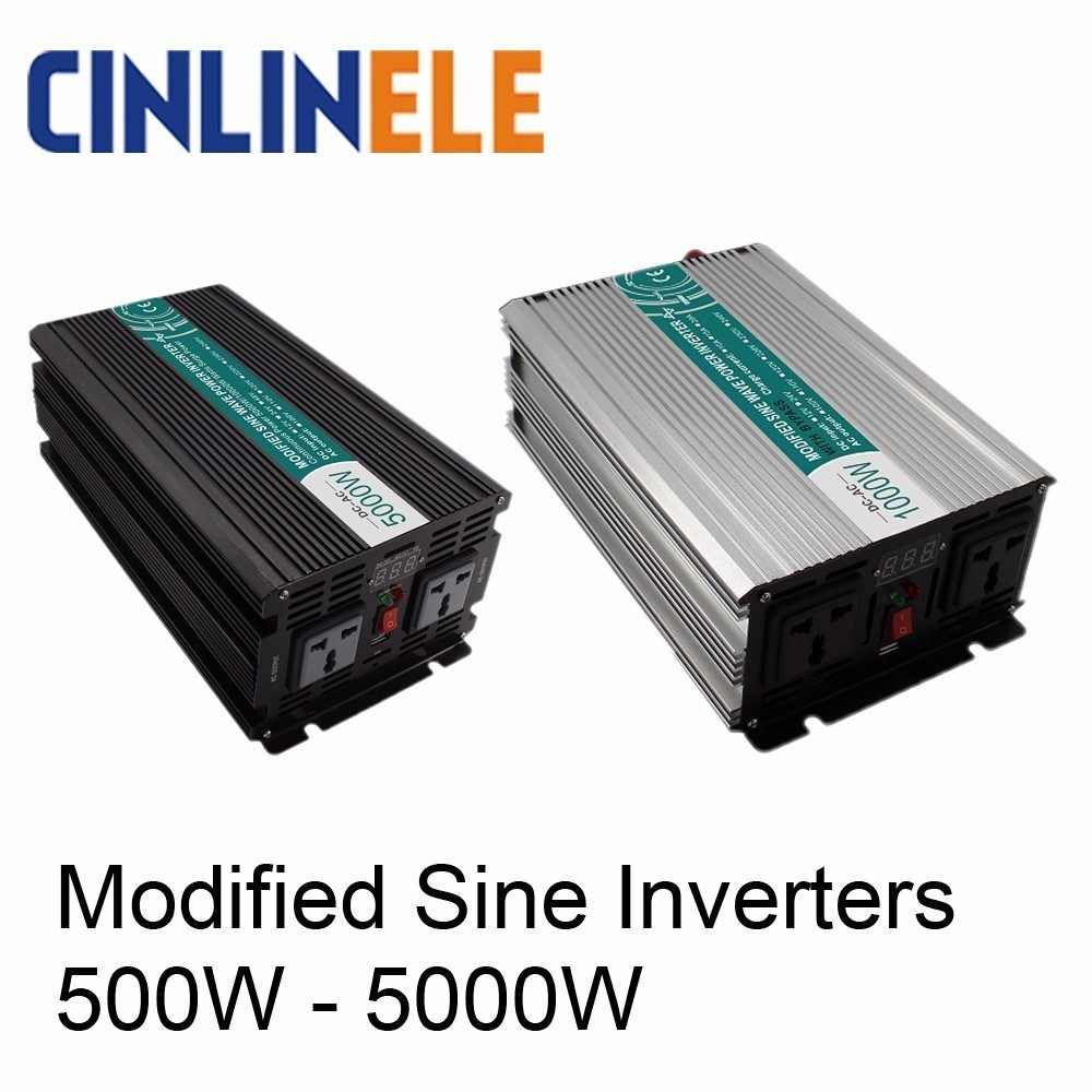 Smart Modified Sine Wave Inverter DC 12V 24V 48V To AC 110V 220V Solar Power 300W 500W 1000W 1500W 2000W 3000W 4000W 5000W smart shine series modified sine wave inverter 1500w clm1500a dc 12v 24v to ac 110v 220v 1500w surge power 3000w