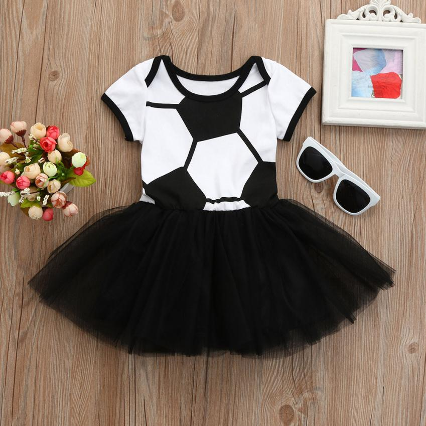 summer baby dress girls newborn clothes Football Soccer Print Romper Tulle Tutu Dresses for babies birthday outfit elsa costume