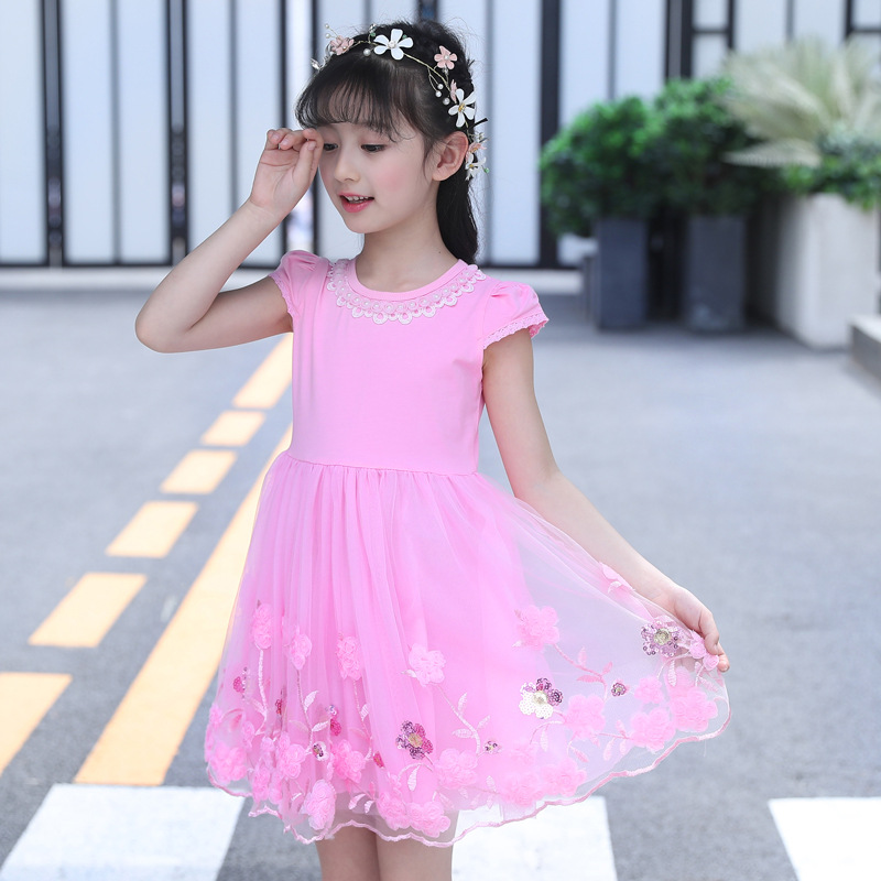 Summer Dresses For Girls Cute Lace Solid Sleeveless Children Dress O-Neck Ball Grown Wedding Party Princess Baby Kids Clothes summer girls sleeveless dresses baby floral printed princess dress spring kids cute cotton o neck dress children lovely clothing