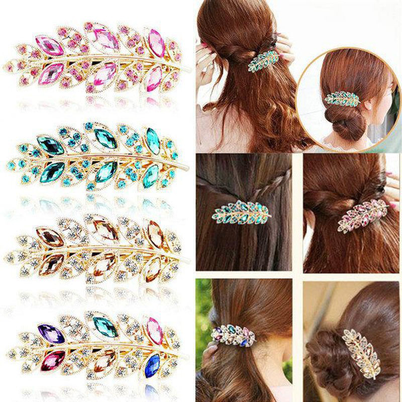 1 X Crystal Leaf Pearl Hair Clip For Women Headwear Headdress Hairpins Cutting Hair Pins Metal Barrette Girl Hair Accessories women girl bohemia bridal peony flower hair clip hairpins barrette wedding decoration hair accessories beach headwear