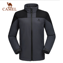Camel Outdoor Men's Soft Shell Jacket Waterproof Windproof Hooded Hiking Coat A6W218113