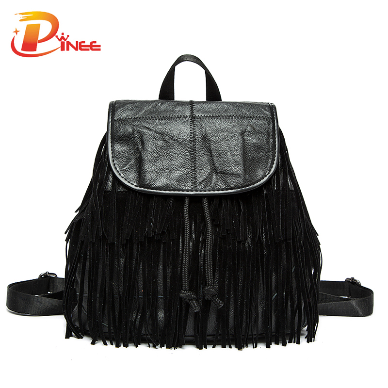 ФОТО 2016 Popular Genuine Leather Tassel Backpacks Cowhide Leather School Bag Casual Travel Bags Free Shipping