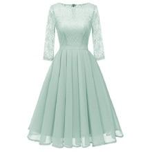 new arrival 2019 bohemian dress chiffon vintage midi lace floral plus size long sleeve office summer elegant dresses