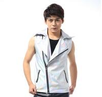 2014 New Male Singer DJ Cool PU Laser Motorcycle Leather Vest Fashion Men S Clothing Jacket