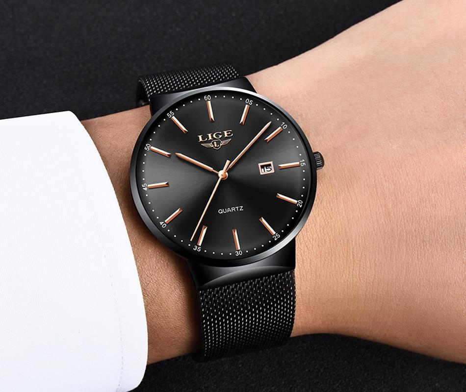 HTB1rStha.LrK1Rjy0Fjq6zYXFXan Relogio Masculino New Mens Watches LIGE Top Brand Luxury Fashion Watch Slim Mesh Date Waterproof Quartz Watch For Men Blue Clock