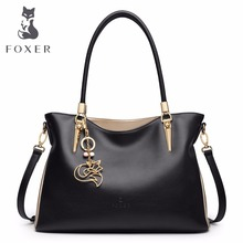 hot deal buy foxer brand women's cow leather handbag fashion female totes high quality shoulder bag