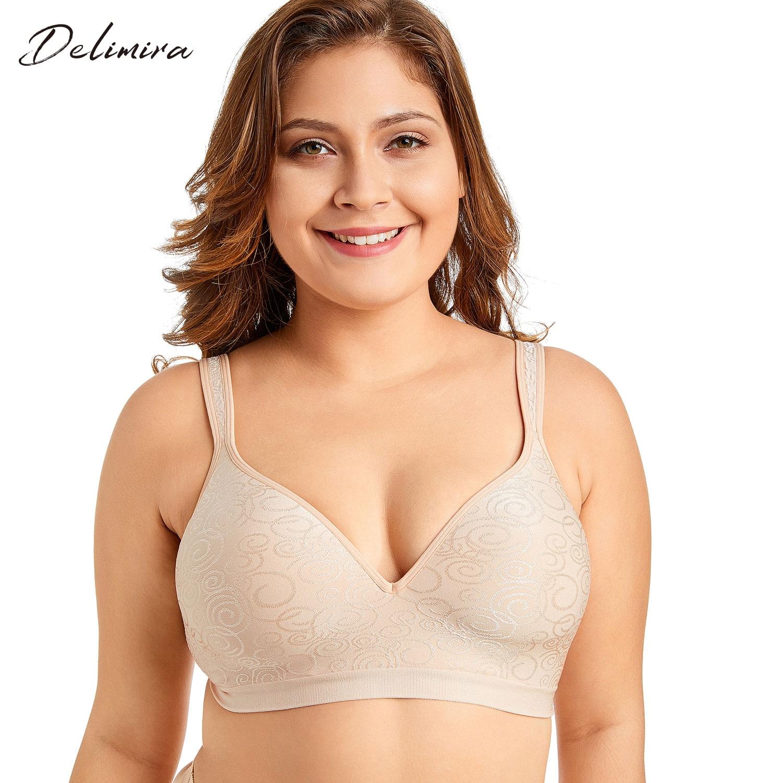Delimira Women's Jacquard Everyday Full Coverage Comfort Seamless Foam Contour Wire Free Bra