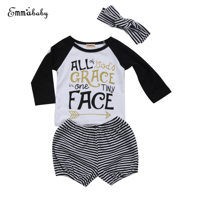 7fad40722 3PCS Newborn Infant Baby Girls Clothes Long Sleve T Shirt+Shorts ...