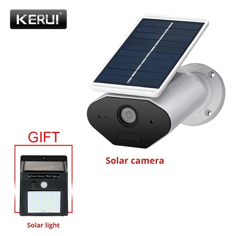 Kerui l4 câmera de segurança solar ao ar livre alimentado sem fio câmera ip wifi à prova d1.água 1.3mp hd ir visão noturna energia da bateria solar