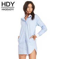HDY Haoduoyi Fashion Single Button Tops Women Long Sleeve Female Loose Shirts Boyfriend Style Ligh Blue