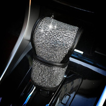 Full Diamond Crystal font b Car b font Gear Shift Collar Cover Glitter Rhinestones Auto Shifter