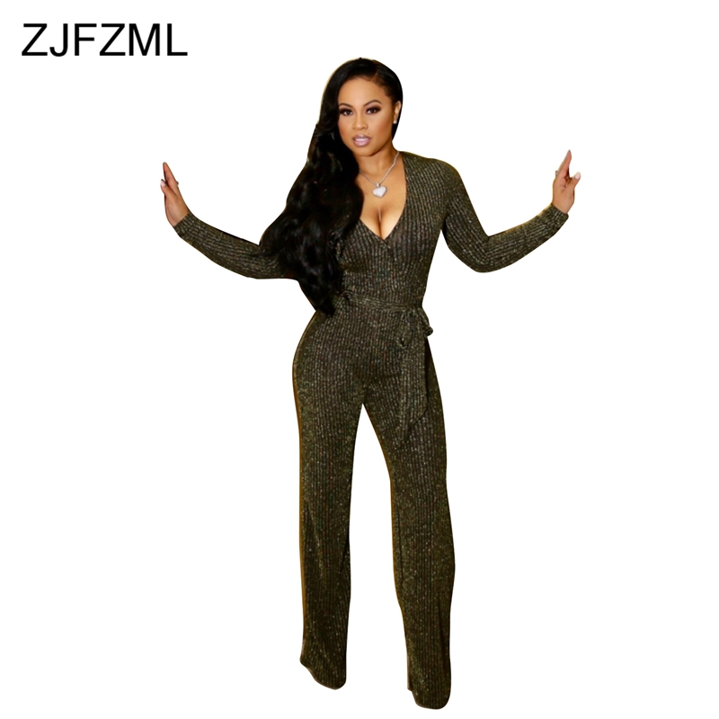 Shiny High Elastic Rompers Womens Jumpsuit Gold Deep V Neck Long Sleeve Wide Leg Pant Overall Casual Silver Belt Party Bodysuit