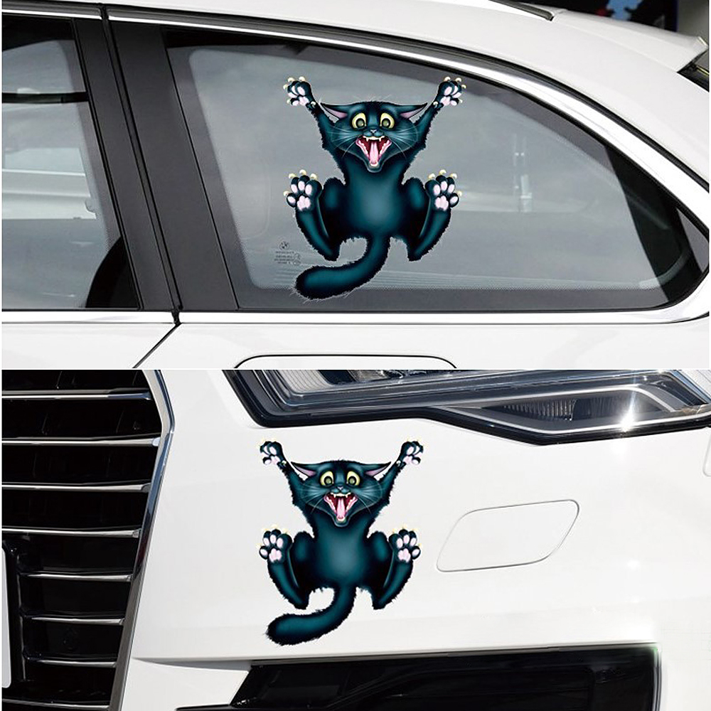 17cm*13.5cm Auto Motorcycle Sticker 3D Crazy Cat Car- styling Car Stickers and Decals Car Window Decor Body Decoration junction produce jp luxury reflective windshield sticker ho car auto motorcycle vinyl diy decal exterior window body car styling